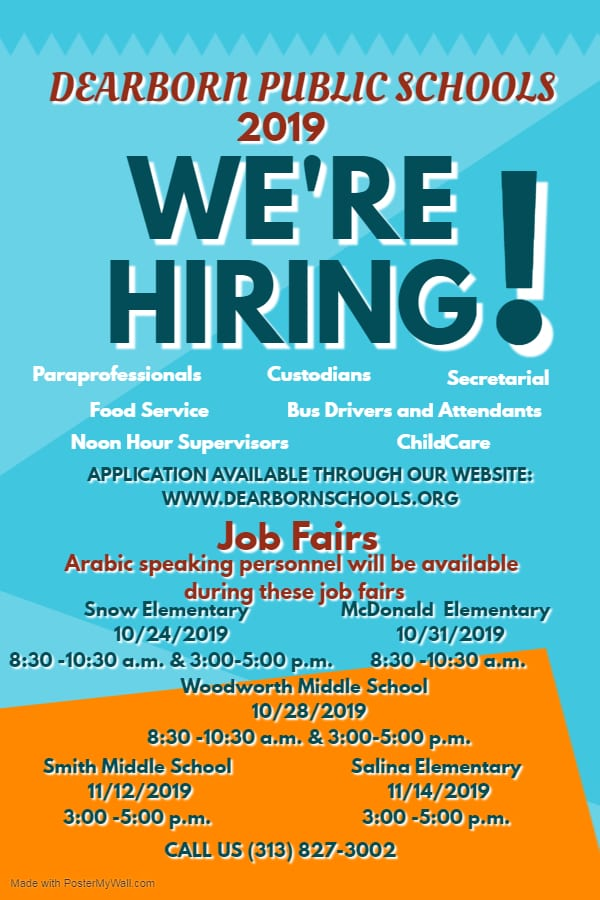 Flyer for District job fairs