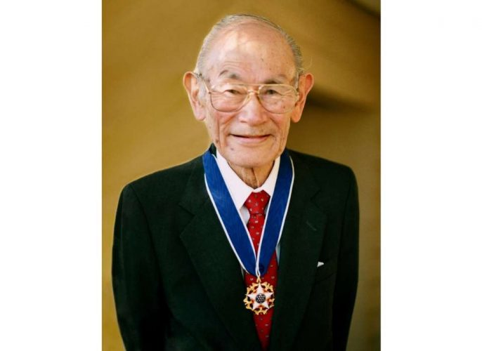 Fred Korematsu wearing his the Presidential Medal of Freedom.