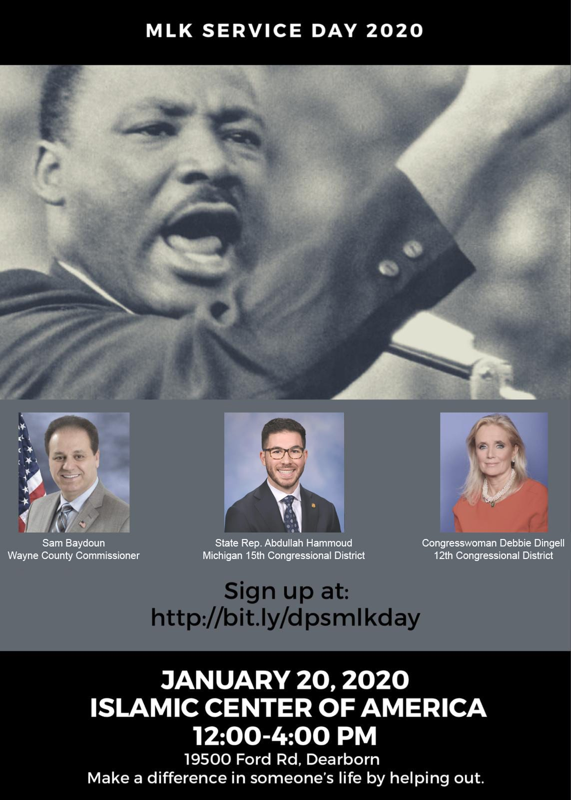Flyer for MLK Day of Service 2020