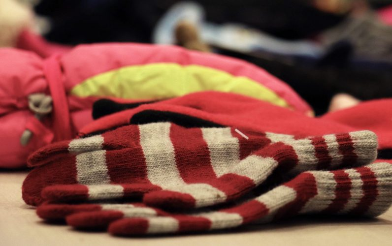 Closeup of gloves piled on the table