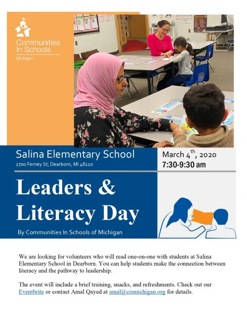 Flyer for Salina Elementary Leaders and Literacy Day on March 4, 2020 from 7:30 to 9:30 a.m.