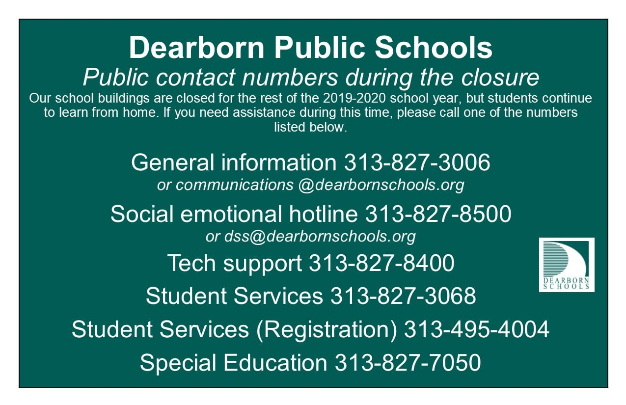 Graphic with contact numbers during shutdown