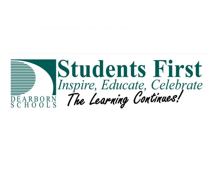 Dearborn Schools temporary logo - Students First: Inspire, Educate, Celebrate. The Learning Continues