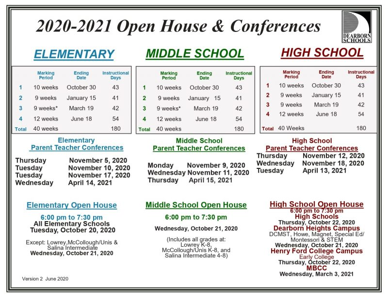 Calendar of open houses, marking periods and parent-teacher conferences