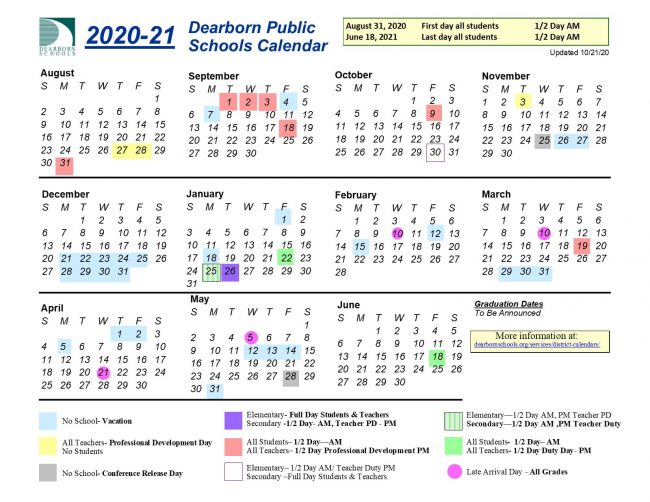 Calendar grid for the 2020-21 school year