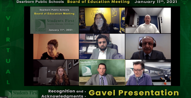 A screen shot of the Board of Education virtual meeting on Jan. 11, 2021.