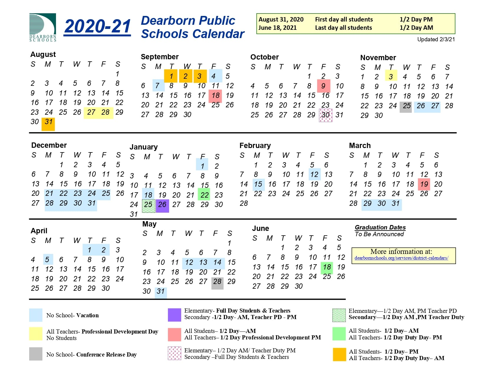 Graphic of the 2020-21 school calendar