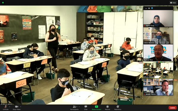 A screen shot of Michigan State Superintendent Dr. Michael Rice paying a virtual visit to a Dearborn classroom.