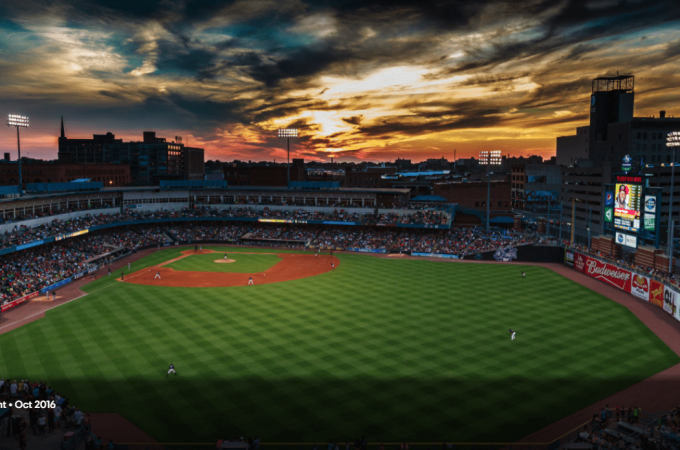 Scenic view overlooking Fifth Third Field at sunset