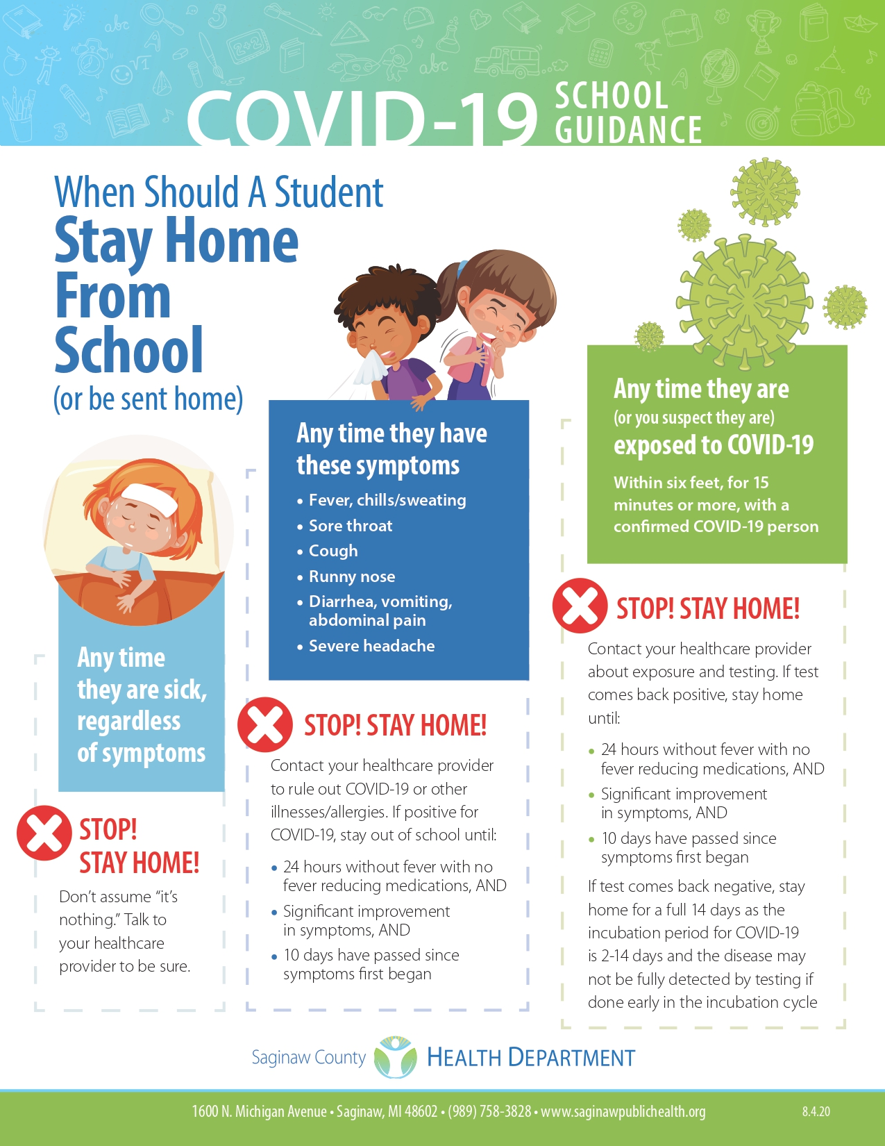 Flyer describing when students should stay home for COVID or other illnesses