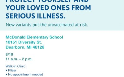 Walk-in COVID vaccine clinic at McDonald Elementary on Aug. 19